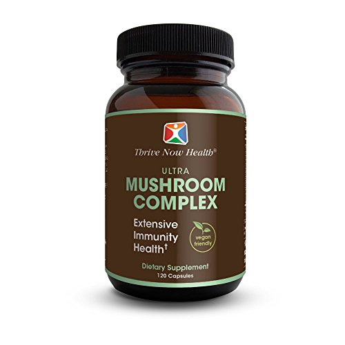 Thrive Now Health Ultra Mushroom Complex (120 Capsules) Reishi, Cordyceps, Chaga, Lion's Mane, Shiitake, Oyster | Immune System Support | Vegan Friendly Supplement