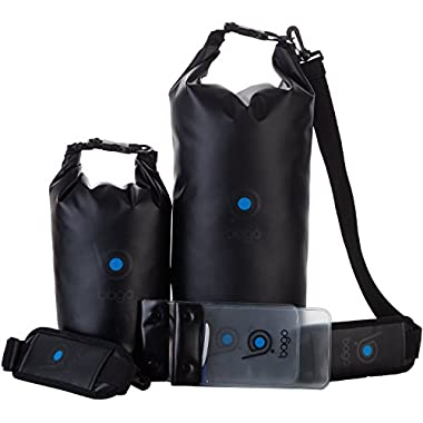 Bago Dry Bags - SEE-THROUGH Waterproof Window. Plus Cell Phone Dry Bag, Adjustable Shoulder Strap. Fits in your Backpack Duffel Sack. Lightweight & Heavy Duty (5L+10L Black)