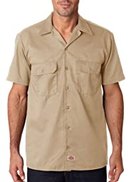 Dickies Men\'s Short Sleeve Workshirt in Khaki - XXX-Large