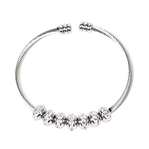 TILLY ANDERSON Stainless Steel Open Bracelet & Bangles Crystal Ball Charms Silver Color Cable Wire Bracelet for Women Jewelry,Silver Plated ()
