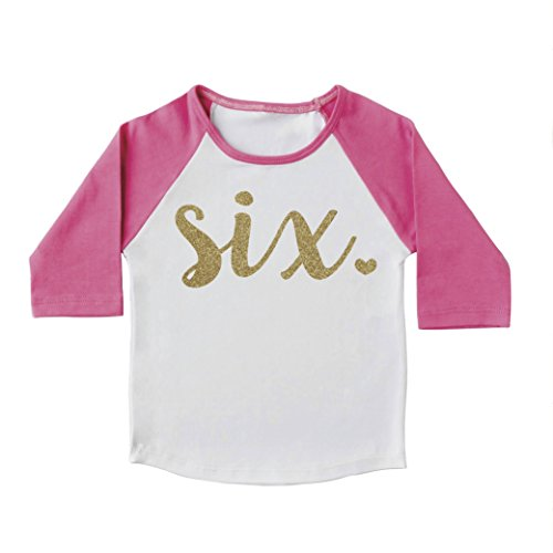 Girl Sixth Birthday Outfit, Sixth Birthday Shirt, Six Year Old Outfit (6T)