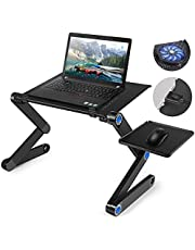 laptop stand,Standing desk,Laptop Desk, lapsdesk,Adjustable Laptop Stand For Bed and Sofa, Sitting With CPU Cooling Fans And Mouse Pad, Ergonomic Lap Desk TV Bed Tray Standing Table
