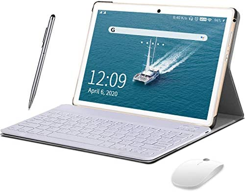 Tablet 10 inch Android 9.0 (GO Editiom) Tablet, 1280x800 HD Touchscreen, Quad Core, with Wireless Keyboard Case Case, Type-C,BT4.2,WiFi,64GB Storage, Metal Body- (Gold)