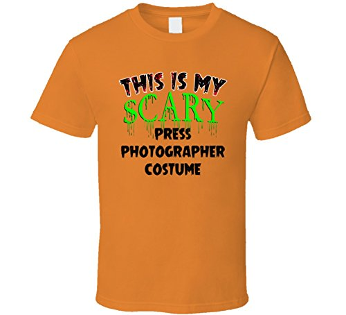 This is My Scary Press Photographer Halloween Costume Trending Job T Shirt M Orange