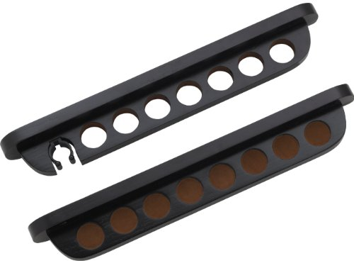 - 7 Pool Cue Stained Wood Wall Rack with Clip for Bridge Cue, Midnight