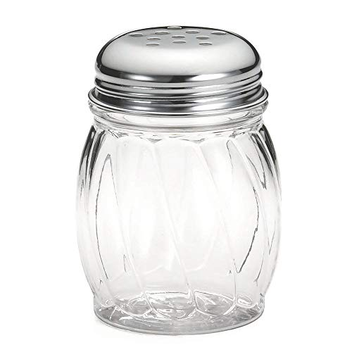 - Tablecraft 6 Oz Swirl Plastic Shaker with Perforated Chrome Plated Top