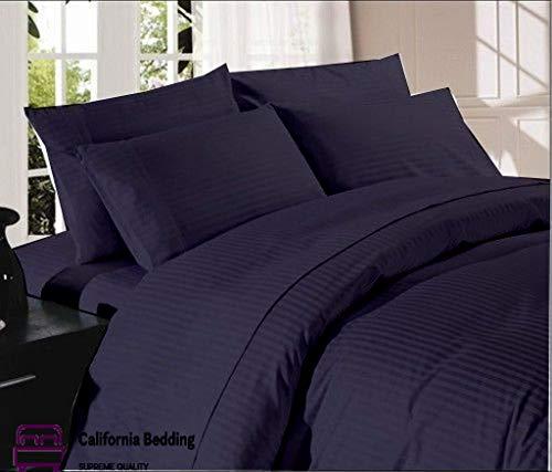 Luxury Hotel Bedding 800 TC Long-Staple Egyptian Cotton 5-Piece Split Bed Sheet Set King Size Fits Mattress Up 12'' to 15'' Deep Pocket Sateen Weave, Soft Cotton, Navy Blue Striped