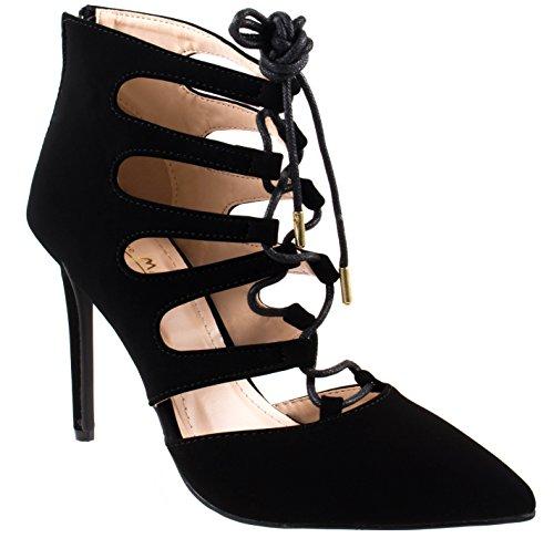 Anne Michelle Shoes Womens Riseup-décolleté Décolleté A Punta Scoperta In Nappa 32v Con Chiusura A Lacci E Chiusura A Zip Nera