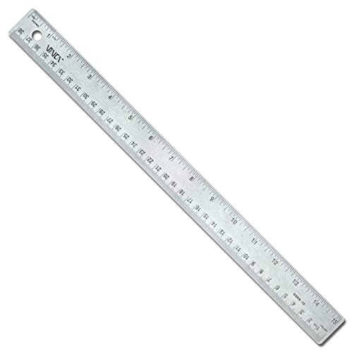 VINCA SSRN-15 Stainless Steel Office Drawing Ruler 0-15 Inch 0-38cm with Non Slip Cork Base Measuring Tool