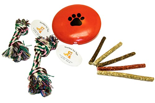 EMG Pet Emporium Squeak Toy & Chew Ropes Bundle PLUS Dogs | 'Paw' Squeaker Disc | (2) Double Knotted Ropes | Guaranteed | (5) Beefhide Natural Chew ()