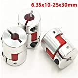 3Pcs 6.35x10mm CNC Stepper Motor Jaw Shaft Coupler 6.35mm to 10mm Flexible Jaw Spider Plum Coupling D25L30 Connector for CNC Router Engraving Milling Machine/3D Printer