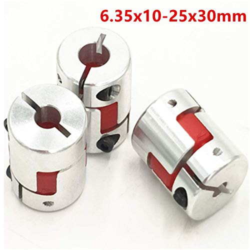 - 3Pcs 6.35x10mm CNC Stepper Motor Jaw Shaft Coupler 6.35mm to 10mm Aluminum Flexible Jaw Spider Plum Coupling D25L30 Connector for CNC Router Engraving Milling Machine/3D Printer