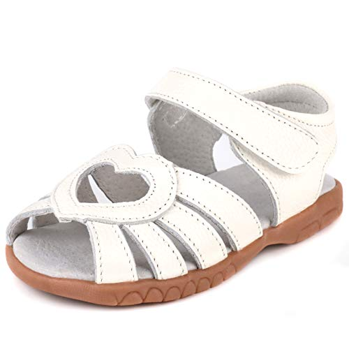 Femizee Kid Girls Leather Sandals Heart Décor Toddler Little Girls Princess Dress Sandal Shoes,Whtie Heart,1539 CN20