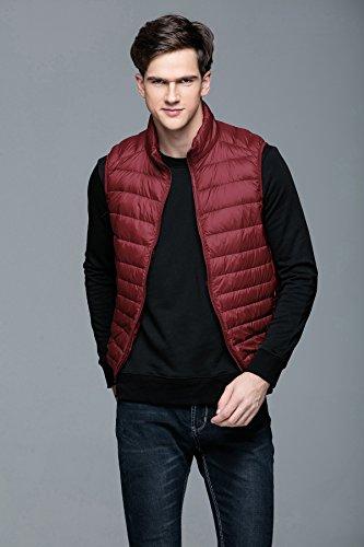 Abrigo Collar de Invierno 2018 Otoño Rojo TT pie Chalecos Global Sin Hombre de Ligero Mangas de Cálido Planicie Chaqueta Pluma vaRPxq