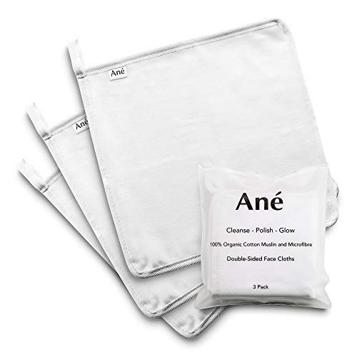 Ané 3 Double Sided Face Cleansing Cloths - Makeup Remover Towels and Microfiber Cleansers