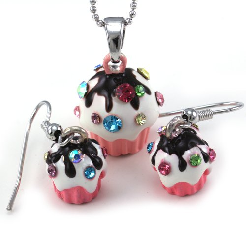 Light Pink White Chocolate Frosting Cupcake Birthday Charm Pendant Necklace Stud Post Earrings 2-piece Set (Piece Of Cake Charm)