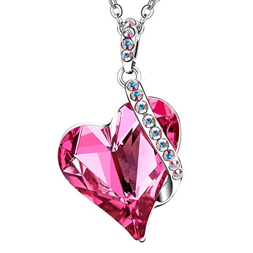 Menton Ezil Love Heart Pendant Necklace Made with Pink Rose Swrovski Crystals Gifts for Her Woman Fashion - Pink Necklace Heart