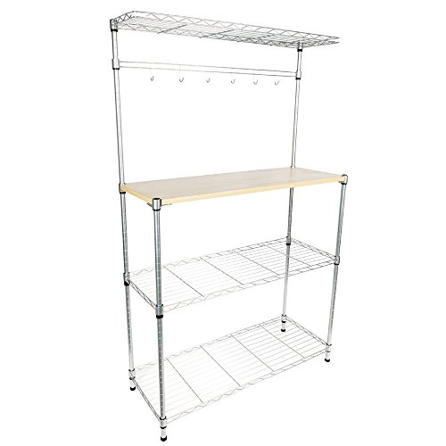 Cirocco 4 Tiers Kitchen Bakers Rack with Cutting Board – Freestanding Tower Rack Storage Shelf – Organizer Shelving Unit – Microwave Oven Rack Stand | Anti Rust Mesh Border Durable for Home Restaurant by Cirocco
