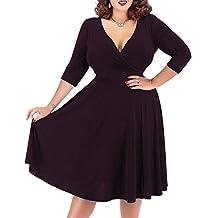 Nemidor Women's V-Neckline Stretchy Casual Midi Plus Size Bridesmaid Dress