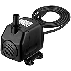Homasy 920GPH Submersible Water Pump with 5.9ft (1.8M) Power Cord, 2 Nozzles and 9.8ft High Lift Ultra Quiet Water Pump for Aquarium, Fish Tank, Statuary, Pond, Hydroponics