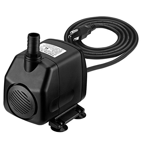 Homasy 920GPH Submersible Water Pump with 5.9ft (1.8M) Power Cord, 2 Nozzles and 9.8ft High Lift for Aquarium, Fish Tank, Statuary, Pond, Hydroponics by Homasy