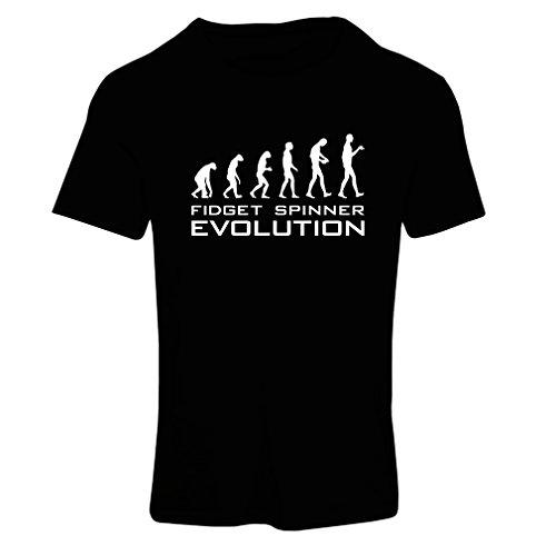 Maglietta Donna L'evoluzione - Fidget Spinner (X-Large Nero Bianco)