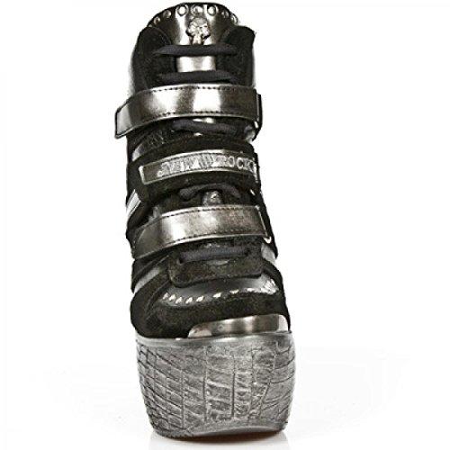 Nuovi Stivali Da Roccia M.pz010-c20 Elegante Punk Urbano Damen Highheels Schwarz