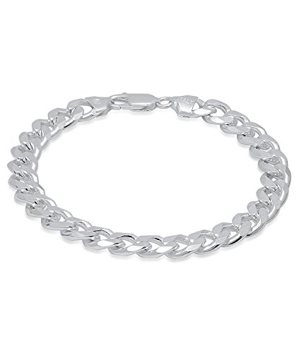 Chunky Bracelet Link (9.5mm Chunky .925 Sterling Silver Miami Cuban Link Chain Bracelet, 8 inches + Bonus Jewelry Cloth)