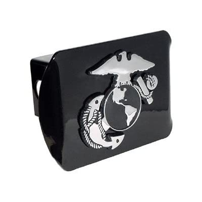 MVP Accessories US Marine Corps Insignia Black Metal Trailer Hitch Cover with Metal Logo: Automotive