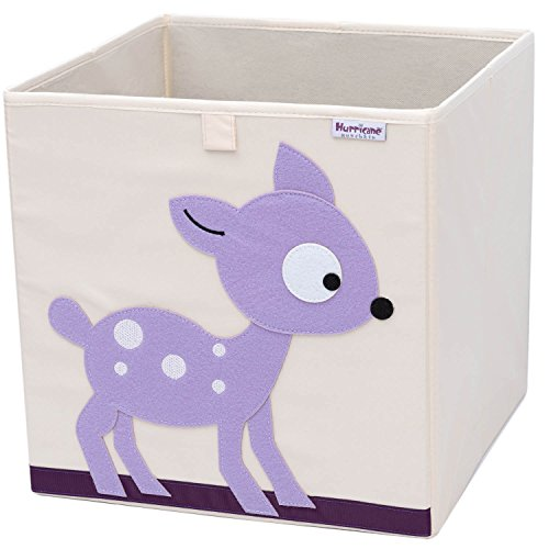 Hurricane Munchkin Collapsible Toy Storage Box   Cube Bin Organizer for Children Toys, Stuffed Animals, Books & Clothes (13 x 13 x 13)   Great for Nursery, Kids Bedroom & Playroom - Deer