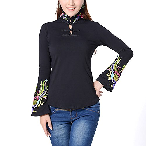 - YOUMU Women Chinese Vintage Embroidery Shirt Women Stand-up Collar Flare Sleeve Blouse Tops Black