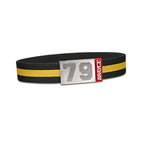 "fan products of BRAYCE Team Colors: Customize your jersey bracelet black/yellow with your player number (0-99) 7 sizes (6,3"" – 8,7""): Hockey, Baseball, Basketball & Football"