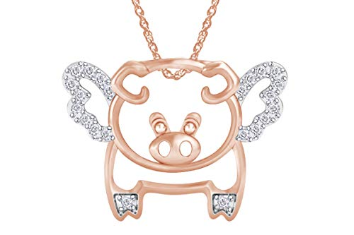 (Mothers Gift Wishrocks Round Natural Diamond Diamond Accent Flying Pig Pendant in 14K Rose Gold Over Sterling Silver)