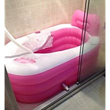 Thickening Folding Inflatable bathtub adult bathtub adult tub plastic bath tub Bathroom Supplies (Pink Large)