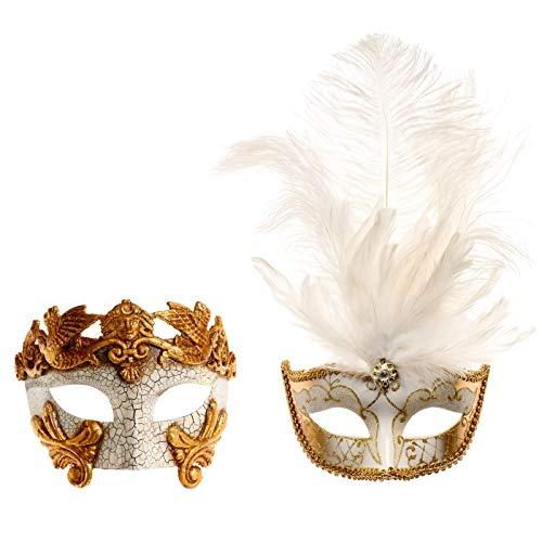 ILOVEMASKS Rome Warrior Gold & White Gold Feather Party Masquerade Mask Couple]()
