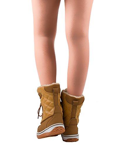 RF ZIMMER DER MODE Frauen Mid Kalb Arctic Warmer Pelz gefüttert Quilting Decor Wasserabweisend Eskimo Ankle High Snow Boots New Tan - Kürzere Welle