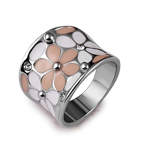 Yfnfxl Womens Rhinestone Pink Elegant Bloom Flower Special Band Wedding Party Cocktail Ring