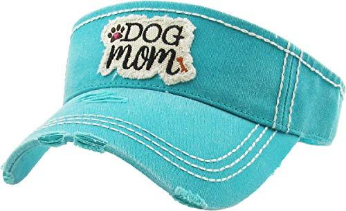 H-201-DM46 Ponytail Visor Patch Hat - Dog Mom, Teal
