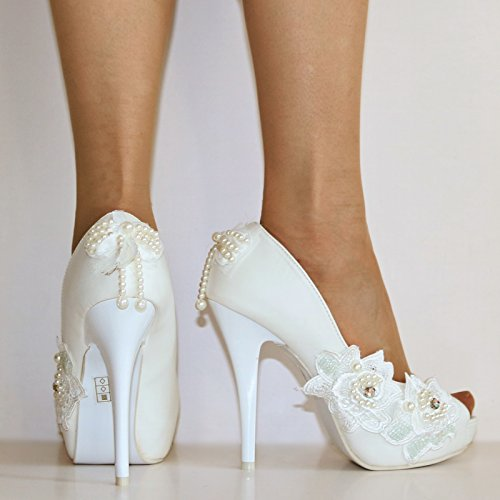 Rock on Styles Ladies Wedding Bridal High Platform Heel White Floral Court Shoes Size-QX503 DKjhli