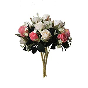 Artificial Multi-Coloured Rose Silk Flowers Bounquet Mixed Arrangement, Home Hotel Room Wedding Decoration(5 Head White+Pink Rose,Pack of 3) 76