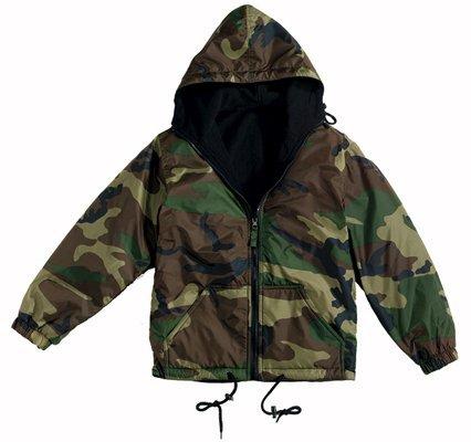 Woodland Camo Reversible Nylon Jacket - Reversible Nylon Jacket with Hood, Woodland Camo, XL