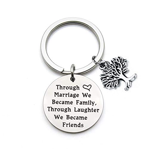 QIIER Sister in Law Bracelet Through Marriage We Became Family Quote Bangle Bracelet Gift for Sister in Law (Keychain)