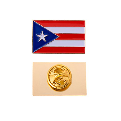 Puerto Rico State Rectangle Flag Lapel Pin Enamel Made of Metal Souvenir Hat Men Women Patriotic (Rectangle Pin) ()