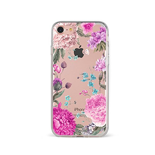 iPhone 8 Clear Case, CaseYard Slim-Fit Hybrid Fashionable Crystal Clear Case, iPhone 8 Case Made in California (iPhone 8) (Clear) Peonies Garden (Meaning Peony)