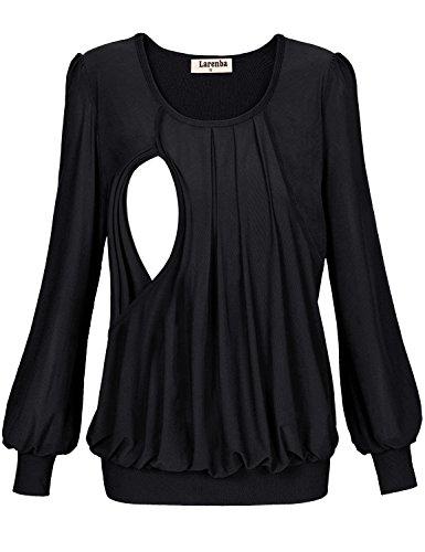 Larenba Pregnant Clothes for Women, Juniors Maternity Tunic Side Slit Nursing Top Long Sleeves for Breastfeeding(Black,Medium)