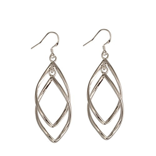 Elegant Fashion Jewelry 925 Silver Plated Stud Dangle Earings Double (Elegant Fashion Jewelry)