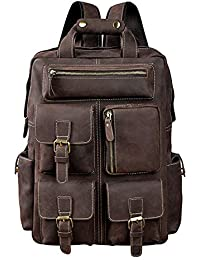Vintage Mens Real Leather Laptop Backpack High capacity Travel Bag (Crazy horse Leather-dark