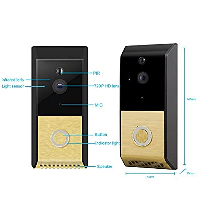 Viewzone 720P WiFi Video Doorbell, Wireless Doorbell Camera with Night Vision Motion Detection Alerts Two Way Audio, Built in 8G TF Card and Rechargeable Battery, Include Indoor Chime Bell, Gold