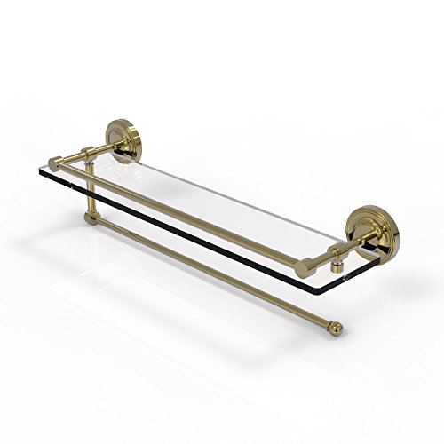 Allied Brass Prestige Regal Collection Paper Towel Holder with 22 Inch Gallery Glass Shelf PRBP-1PT/22-GAL - Unlacquered Brass by Allied Precision Industries