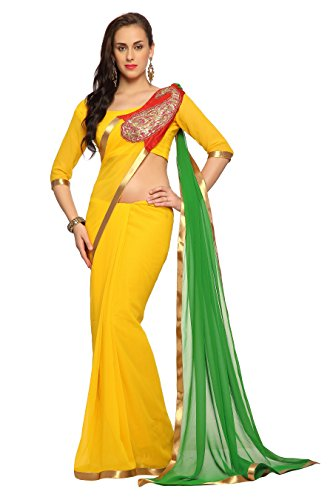 Bollywood Women's Indian Ethnic Designer Yellow & Green color Faux georgette Party Wedding Sarees With Saree Blouse Unstitched